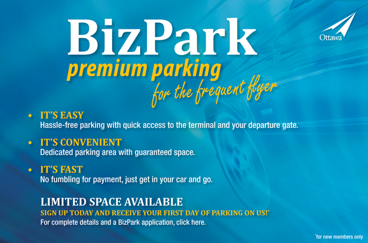BizPark premium parking for the frequent flyer. Click here for full details